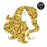 Силуэт золота ` s женщины Портрет моды вектора Золотой силуэт мозаики Стоковые Фотографии RF