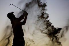 силуэт игрока в гольф Стоковые Фотографии RF