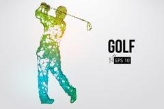 Силуэт игрока гольфа также вектор иллюстрации притяжки corel Стоковое Изображение RF