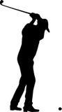 силуэт игрока гольфа Стоковая Фотография