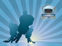 силуэт игрока хоккея предпосылки Стоковые Фотографии RF