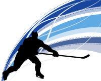 Силуэт игрока хоккея Стоковые Фотографии RF