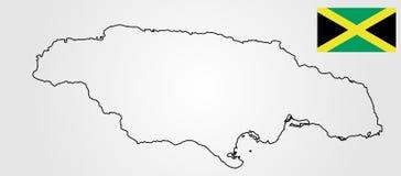 Силуэт и флаг контура карты ямайки бесплатная иллюстрация