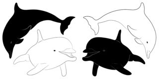 Силуэт и эскиз дельфина бесплатная иллюстрация