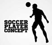 Силуэт концепции футболиста футбола Стоковые Изображения