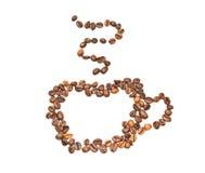 силуэт кофейной чашки зажаренный в духовке Стоковое Фото