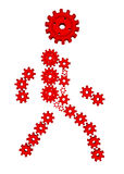 силуэт красного цвета шестерни 3d Стоковая Фотография