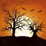 Силуэт летая летучей мыши и травы дерева Покрашенный плакат в темном стиле для партии хеллоуина иллюстрация вектора