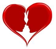 силуэт любовников влюбленности сердца красный романский Стоковое Изображение RF