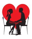 силуэт любовников Стоковое Изображение RF