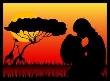 силуэт любовников Стоковая Фотография RF