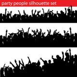 силуэт людей партии установленный Стоковое Изображение