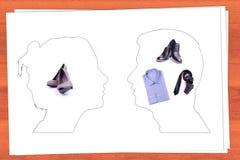 Силуэт мыжских и женских головок Стоковые Фото