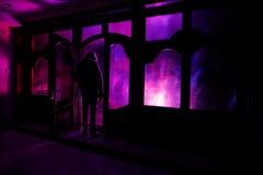 Силуэт неизвестной диаграммы тени на двери через закрытую стеклянную дверь Силуэт человека перед окном на ni Стоковое фото RF