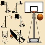 силуэт обруча баскетбола шарика Стоковая Фотография RF