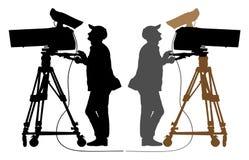 Силуэт оператора, телекамера иллюстрация вектора