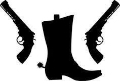 Силуэт пистолетов и ботинка с шпорами Стоковое Изображение RF