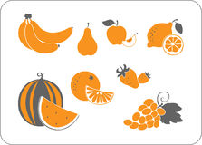 Силуэт плодоовощ померанцов-серый иллюстрация штока