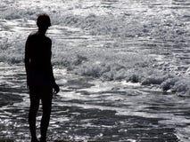 силуэт пляжа Стоковая Фотография