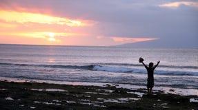 силуэт пляжа Стоковое Изображение RF
