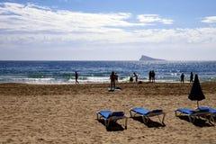 Силуэт пляжа, Benidorm, Испания Стоковые Фотографии RF