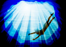 Силуэт подводный Стоковые Изображения