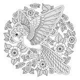 Силуэт попугая джунглей какаду фантазии вектора стилизованный Стоковое Изображение RF