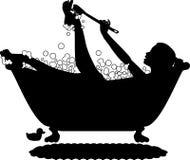 силуэт пузыря ванны Стоковая Фотография RF