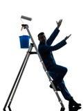Силуэт работника колеривщика дома человека Стоковые Фотографии RF