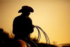 силуэт родео ковбоя Стоковая Фотография RF