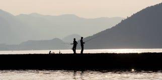 силуэт рыболовства Стоковые Фото