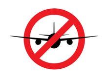 Силуэт самолета в знаке запрета th, виде спереди, изолированном на белой предпосылке, горизонтальная иллюстрация вектора бесплатная иллюстрация