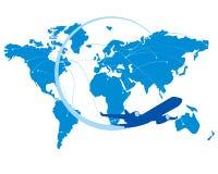 Силуэт самолета голубого двигателя с картой мира позади Стоковое фото RF