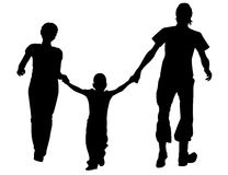 силуэт семьи идущий Стоковое Изображение