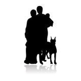 силуэт семьи совершенный Стоковое Изображение