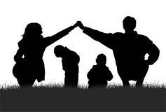силуэт семьи Стоковые Изображения RF