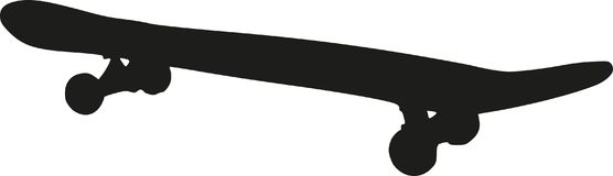 Силуэт скейтборда Стоковое фото RF
