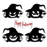 Силуэт собрания черный эмоций ` хеллоуина ` тыквы на белой предпосылке иллюстрация вектора