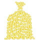 Силуэт сумки денег созданный от золотых монеток с знаками доллара Стоковая Фотография RF