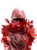 Силуэт с капюшоном человека, изолированный на черной предпосылке творческо Влияние двойной экспозиции Изолят силуэта бесплатная иллюстрация