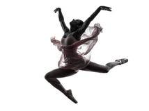 Силуэт танцев артиста балета балерины женщины Стоковое Изображение