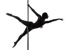 Силуэт танцора полюса женщины Стоковые Фотографии RF