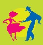 силуэт танцоров Стоковое фото RF