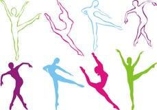 силуэт танцульки Стоковое Изображение RF
