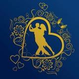 силуэт танцы пар Стоковая Фотография