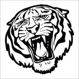 Силуэт тигра головной Стоковые Изображения