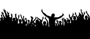 Силуэт толпы рукоплескания, жизнерадостные люди иллюстрация вектора