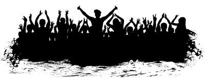 Силуэт толпы рукоплескания Люди аплодируя иллюстрация штока