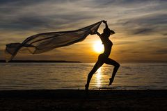 Силуэт тонкой сексуальной девушки в бикини с шарфом на пляже Стоковая Фотография RF