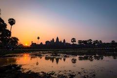 Силуэт утра виска Angkor Wat с восходящим солнцем стоковые изображения rf